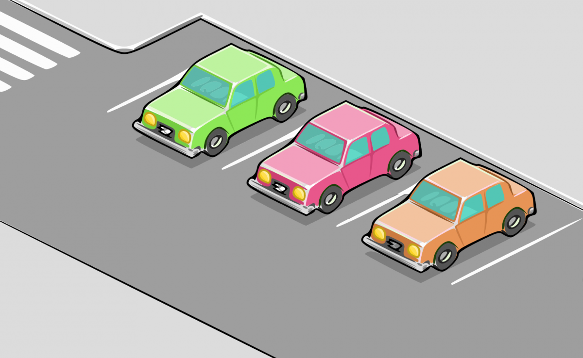 Animated cars parked in a car park