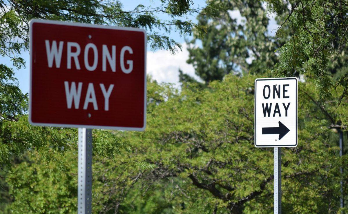 Wrong way and one way road signs
