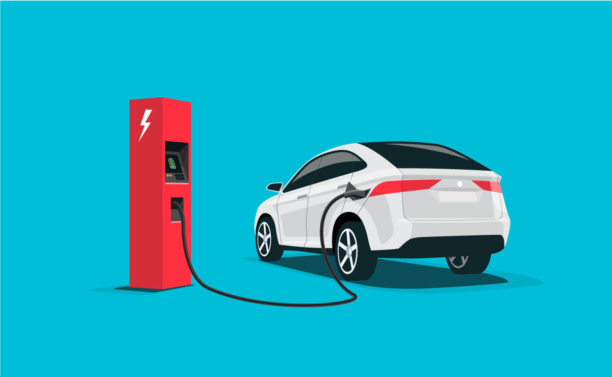Animated image of an electric car plugged into a charger
