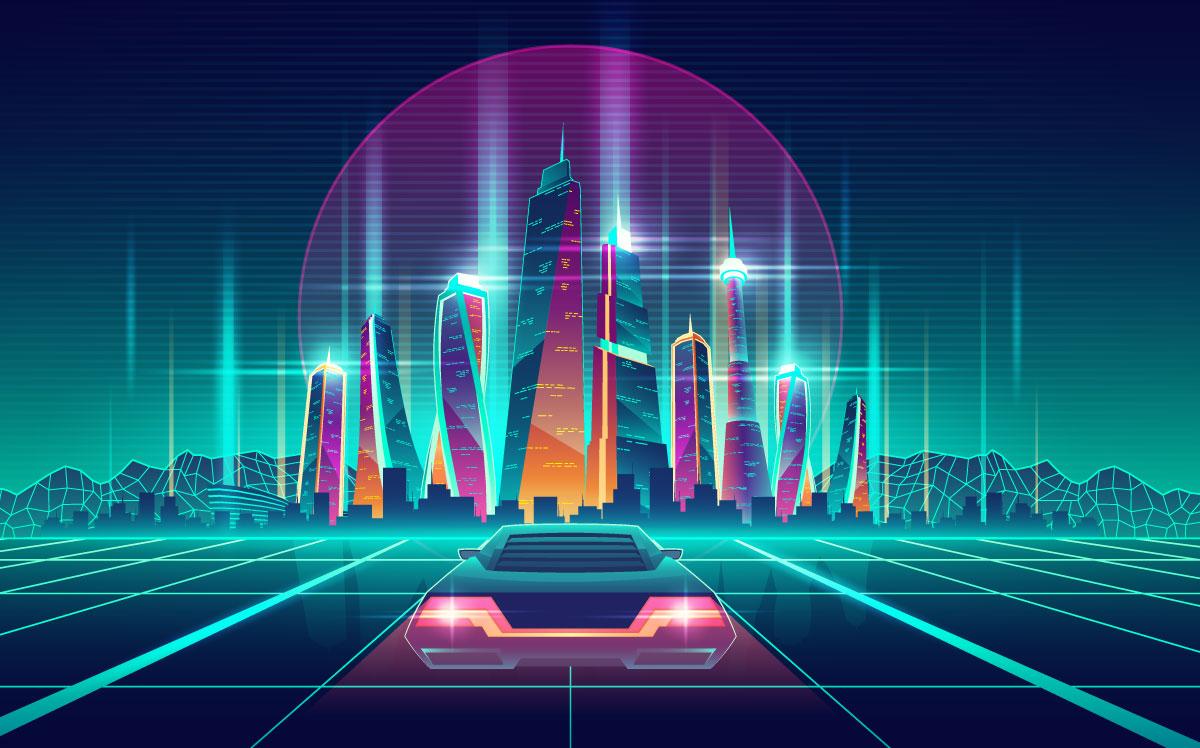 Retro neon graphic car with with skyscraper city backdrop