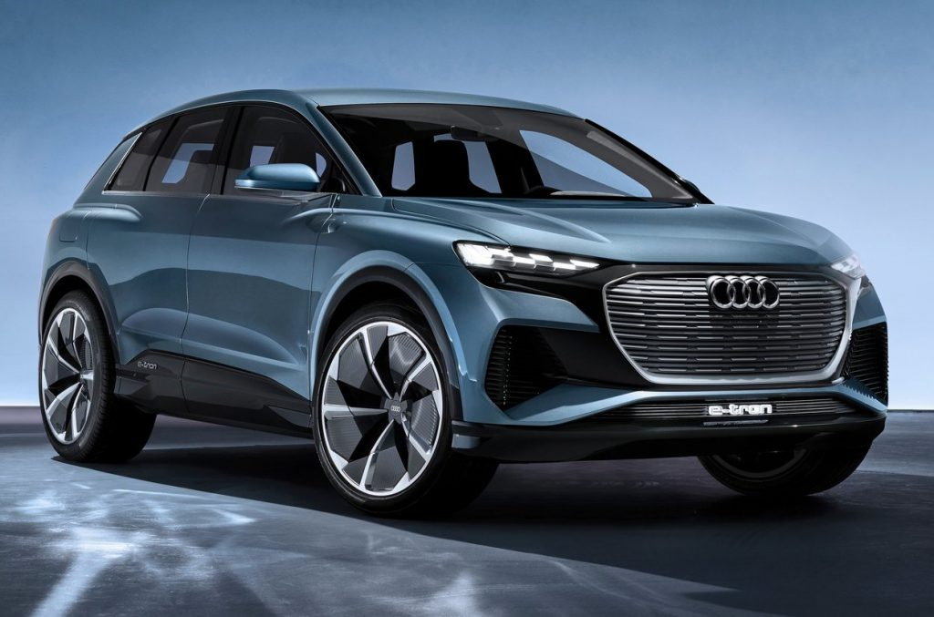 Audi Q4 e-tron in blue grey colour