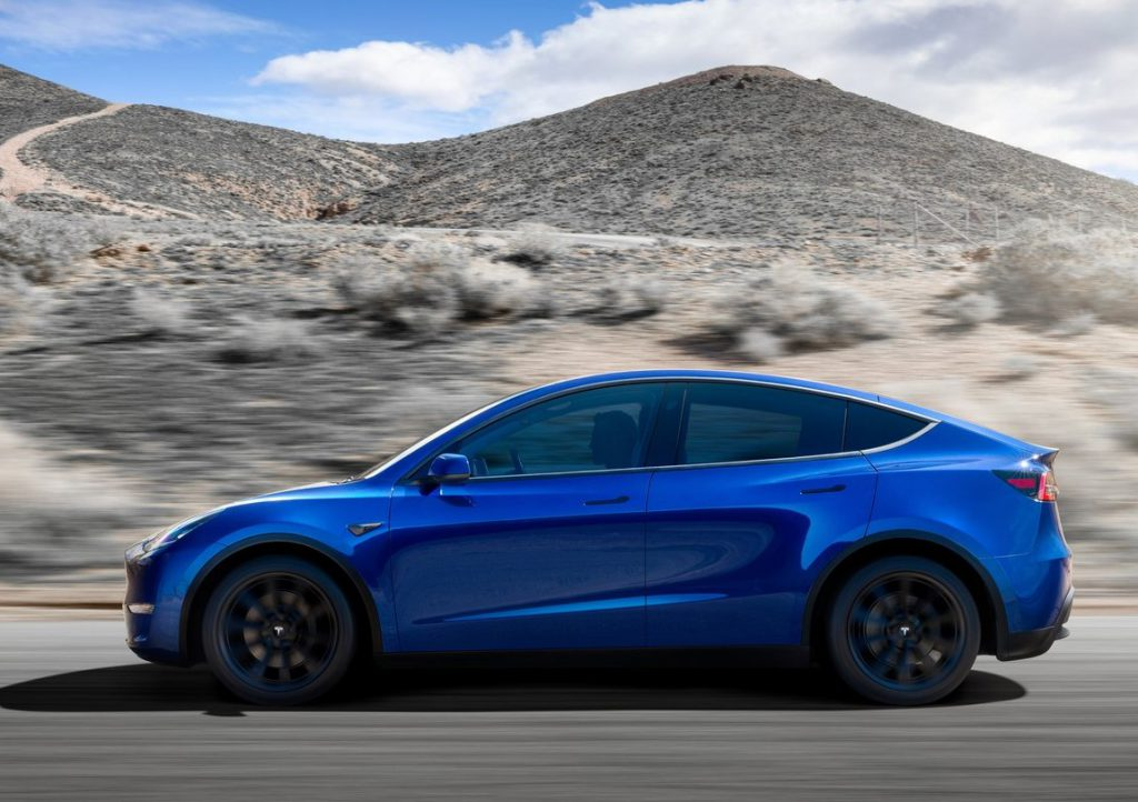 Tesla Model Y in blue